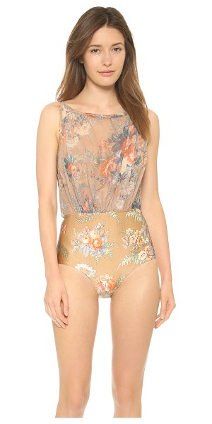 Zimmermann Anais floral mesh one piece in nude floral - A draped mesh overlay brings a unique, airy accent to...
