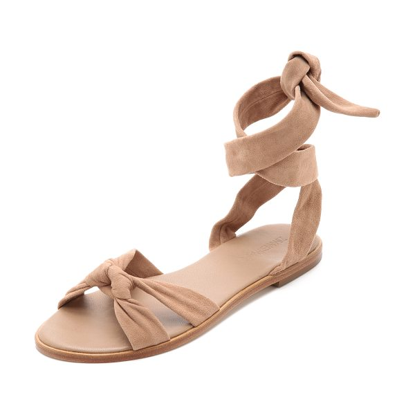 Zimmermann Ankle tie flat sandals in nude - Supple straps knot over the toe and wrap around the...
