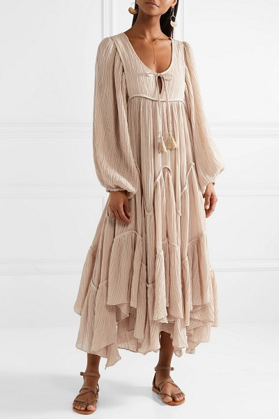Zimmermann bayou crinkled ramie and cotton-blend midi dress in beige - Whether lounging at the beach or getting drinks, you're...