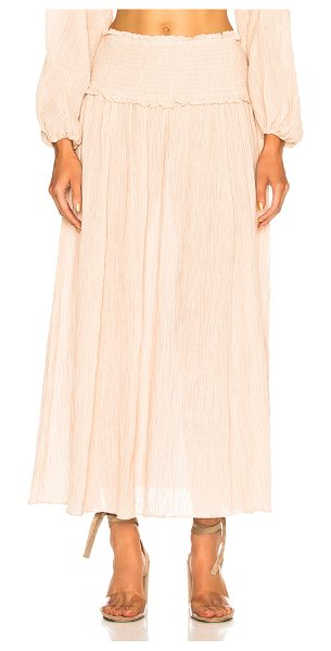 Zimmermann Bayou Shirred Long Skirt in nude - 55% ramie 45% cotton.  Made in China.  Hand wash. ...