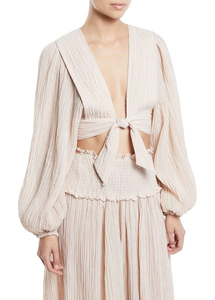 "Zimmermann Bayou Tie-Front Blouson-Sleeve Crop Top in nude - Zimmermann ""Bayou"" top with tie-front detail. Deep V..."