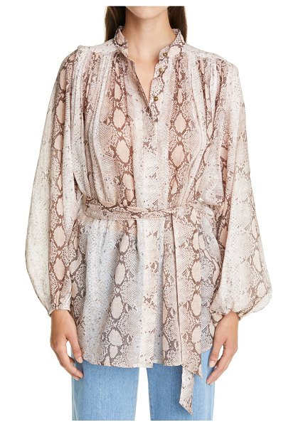 Zimmermann bellitude snake print long sleeve tunic in beige
