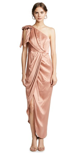 Zimmermann bow bodice long dress in nude - Fabric: Washed satin Bow accent at shoulder Midi length...