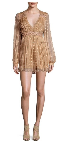 ZIMMERMANN bowerbird empire silk romper in nude dot - Pintuck accents and cutouts highlight this romper. Deep...
