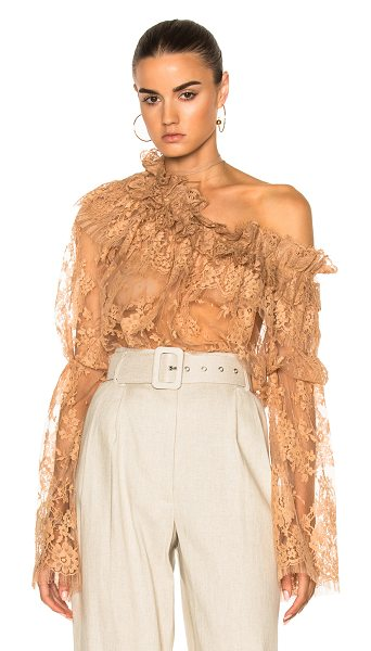 Zimmermann Bowerbird Lace Blouse in nude - 60% cotton 40% polyamide. Made in China. Dry clean only....