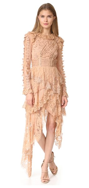 Zimmermann bowerbird romance mini dress in nude - NOTE: Zimmermann uses special sizing. Corset-like lacing...