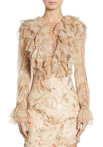 Zimmermann bowerbird ruffled lace-up silk bell sleeve blouse in apricot floral - Voluminous ruffles balance sultry lace-up blouse....