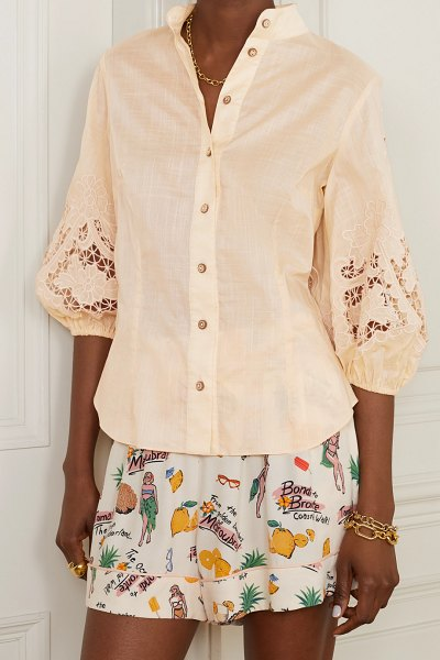 Zimmermann brighton broderie anglaise cotton blouse in taupe