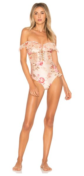 Zimmermann Corsair Corset Ruffle One Piece in pink