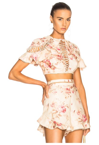 Zimmermann Corsair Flutter Lace Up Top in floral,neutrals,pink - Self: 100% linen - Lining: 100% cotton.  Made in China. ...