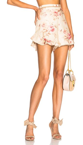 Zimmermann Corsair Flutter Short in floral,neutrals,pink - Self: 100% linen - Lining: 100% cotton.  Made in China. ...