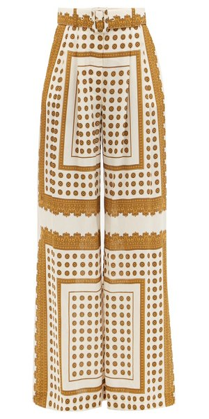 Zimmermann flared polka-dot twill trousers in brown print