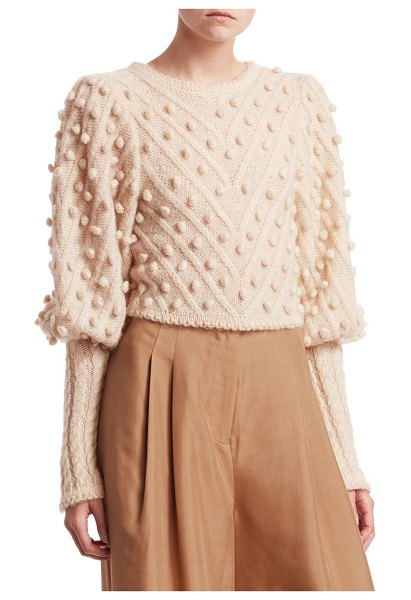 Zimmermann fleeting bauble sweater in buff - Knit baubles lend quirky textures to this bold mutton...