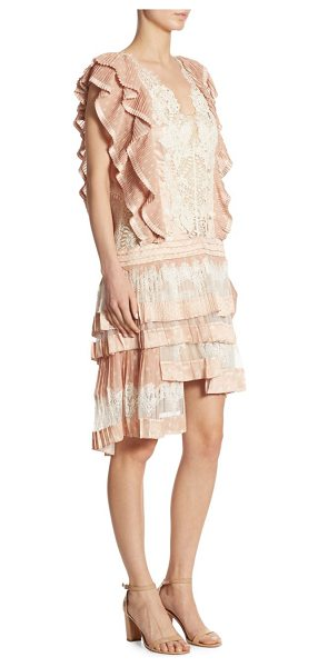 Zimmermann folly lace dizzy printed drop waist dress in peach dot - From the Maple Collection. Folly dizzy dress with mesh...