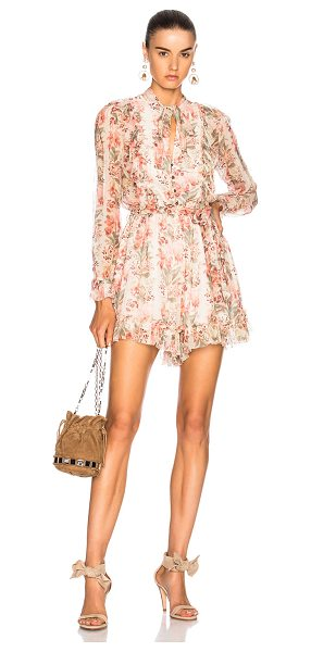 Zimmermann Folly Neck Tie Playsuit in peach floral - Self: 100% silkLining: 100% poly. Made in China. Dry...