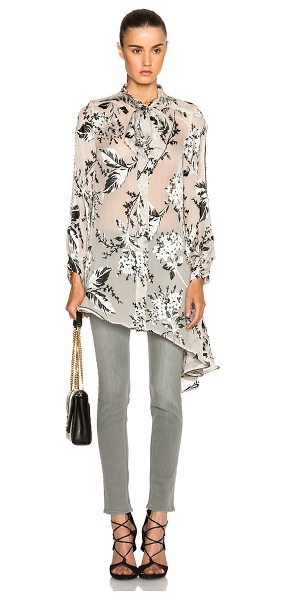 Zimmermann Fortune billow top in floral,neutrals - 70% silk 30% viscose.  Made in China.  Sheer burnout...