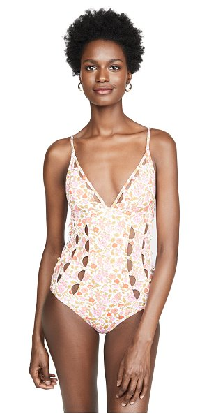 Zimmermann goldie crescent cutout one piece in coral blossom
