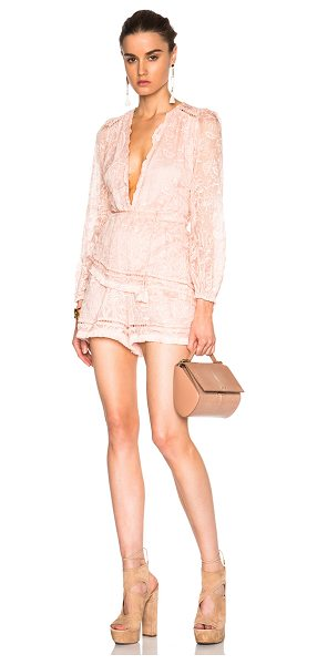 Zimmermann Henna floating fringe romper in pink - Self: 100% cotton - Contrast Fabric: 100% cotton -...