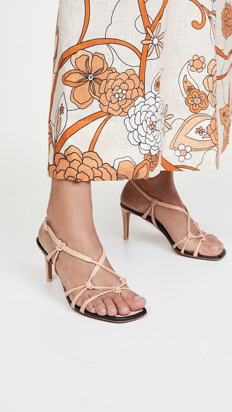 Zimmermann knotted strap heeled sandals in nude/black