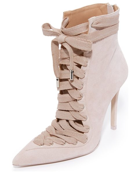 ZIMMERMANN lace up ankle booties - Suede Zimmermann booties styled with a dramatic, pointed...