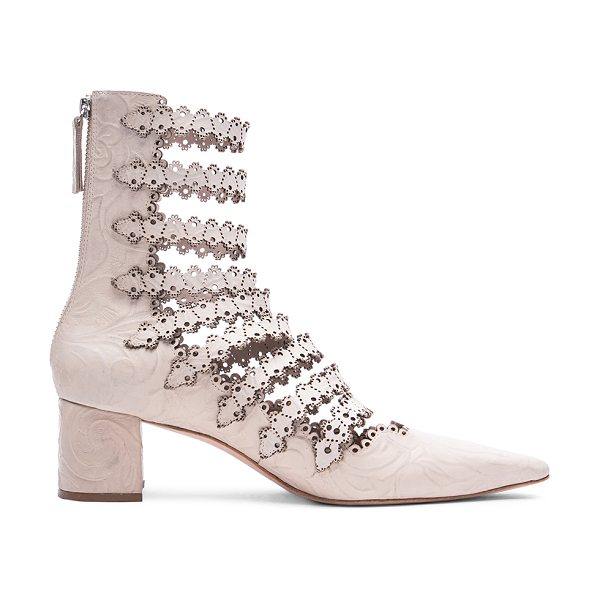 Zimmermann Leather lace strap ankle boots in neutrals - Embossed leather upper with leather sole.  Made in...