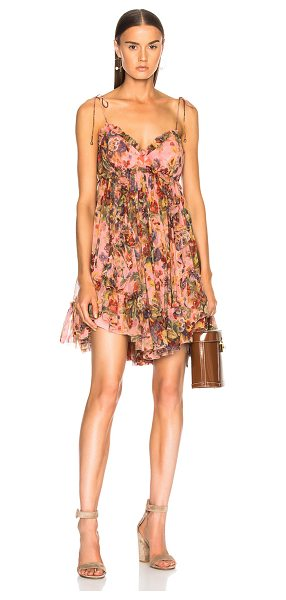 Zimmermann Lovelorn Frill Mini Dress in pink,floral - Self: 100% silk - Lining: 100% poly.  Made in China. ...