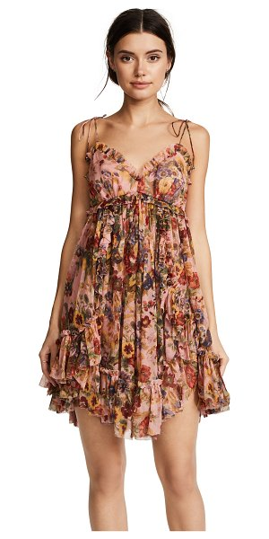 ZIMMERMANN lovelorn frill mini dress - Fabric: Chiffon Floral print Cover-up dress Baby doll...