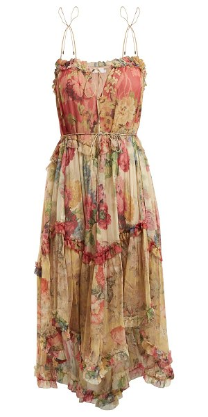 Zimmermann Melody Floating Floral Print Silk Dress in pink multi - Zimmermann - Embrace a romantic mood with this beige...
