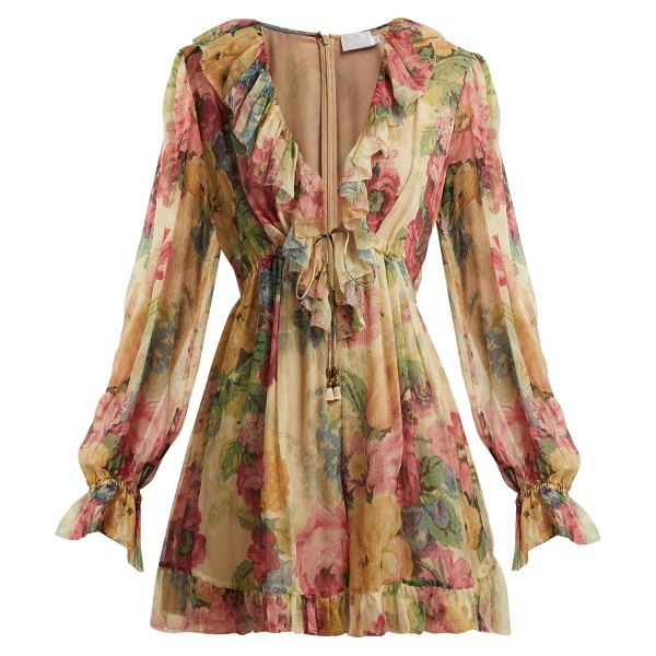 Zimmermann Melody Floating Floral Print Silk Playsuit in beige multi - Zimmermann - This Melody Floating playsuit by Zimmermann...