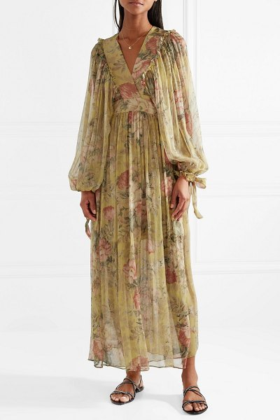 Zimmermann melody floral-print silk-crepon maxi dress in beige