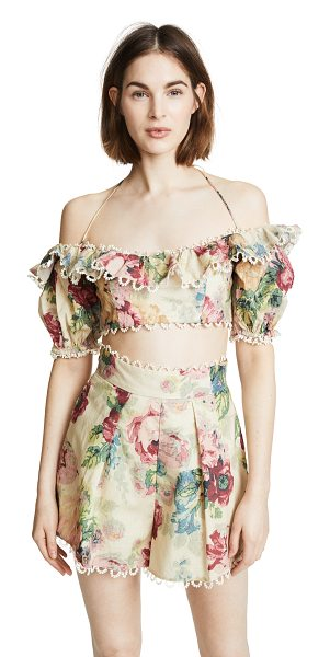 Zimmermann melody off shoulder top in taupe floral - Fabric: Linen weave Boned sides Floral print Swim...