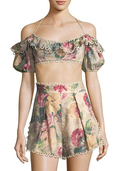 Zimmermann melody off-the-shoulder cropped top in taupe floral - From the Saks It List: Garden Party Florals. Flirty...