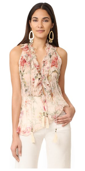 Zimmermann mercer cream floral blouse in cream floral - NOTE: Zimmermann uses special sizing. A lavish floral...