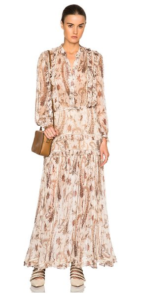 Zimmermann Mischief frill dress in neutrals,abstract
