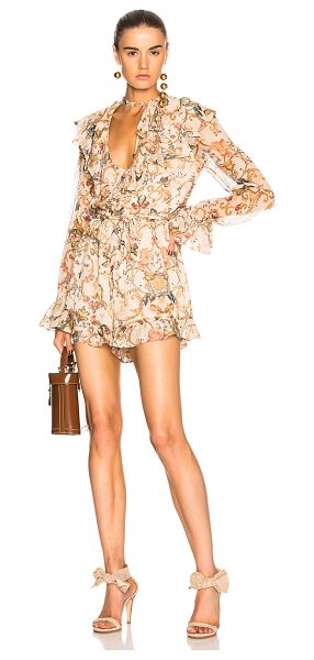 Zimmermann Painted Heart Cascade Playsuit in neutrals,floral - Self: 100% silk - Lining: 100% viscose.  Made in China. ...
