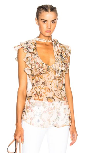 Zimmermann Painted Heart Cascade Tank Top in floral,neutrals - 100% silk.  Made in China.  Dry clean only.  Neck tie...