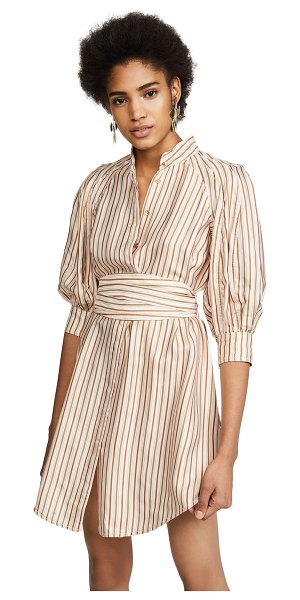 Zimmermann painted heart mini shirtdress in blossom stripe - A striped Zimmermann mini dress with blouson 3/4 sleeves...