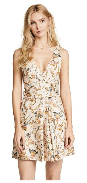 Zimmermann painted heart shift dress in peach tapestry - A floral Zimmermann dress with a deep V neckline and...
