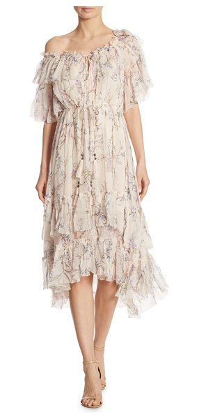 ZIMMERMANN paradiso floral one-shoulder silk dress - EXCLUSIVELY AT SAKS FIFTH AVENUE. Romantic ruffles...