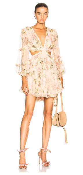 Zimmermann Prima Floating Cut Out Dress in floral,pink - Self: 100% silk - Lining: 100% poly.  Made in China. ...