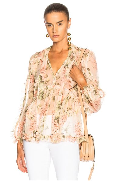 Zimmermann Prima Floating Top in floral,pink - 100% silk.  Made in China.  Dry clean only.  Front...