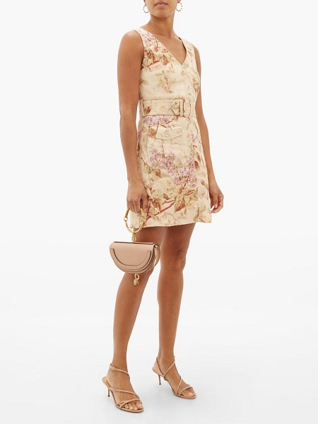 Zimmermann sabotage floral-print linen mini dress in cream print