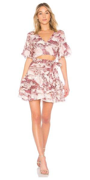 Zimmermann Short Sleeve Wrap Dress in pink - We?re dreaming of days lounging under palm trees with...
