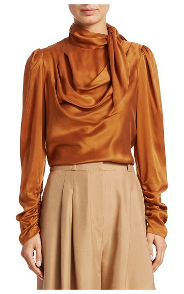 Zimmermann silk scarf bodice blouse in amber - Silk blouse with fluidly draped scarf detail and ruched...