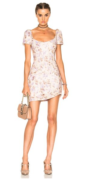 Zimmermann Stranded Corset Dress in floral,neutrals,purple - Self: 100% linen - Lining: 100% cotton.  Made in China. ...