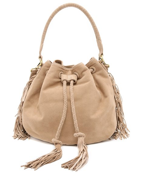 Zimmermann Suede bucket bag in sand - A slouchy Zimmermann bucket bag in rich suede, accented...