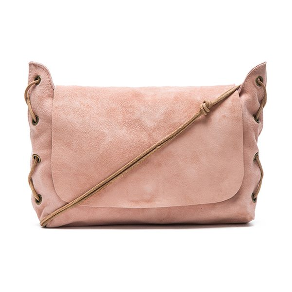 ZIMMERMANN Suede shoulder mini bag in blush - Suede exterior and lining. Flap top with magnetic button...