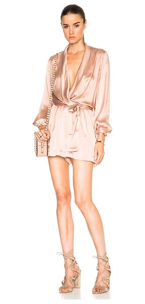 Zimmermann Suede silk wrap romper in pink - Self: 100% silk - Lining: 100% poly.  Made in China. ...