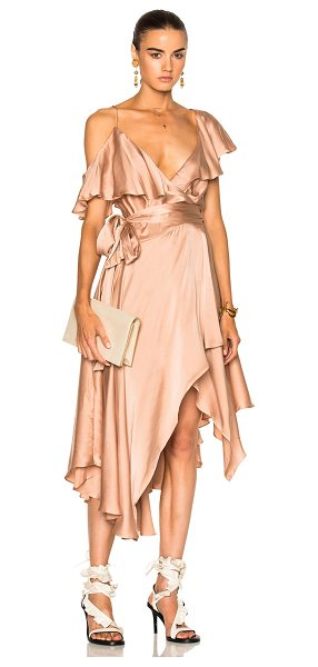 ZIMMERMANN Sueded Asymmetric Wrap Dress - 100% silk.  Made in China.  Dry clean only.  Unlined. ...