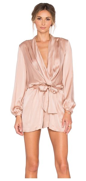 Zimmermann Sueded silk wrap playsuit in beige - Silk blend. Dry clean only. Wrap front. Waist tie. Side...